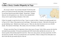 Print <i>Celine's Story: Gender Disparity in Togo</i> reading comprehension.