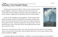 Print <i>Paricutin, a Very Unusual Volcano</i> reading comprehension.