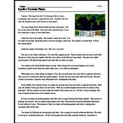 Print <i>Earth's Tectonic Plates</i> reading comprehension.