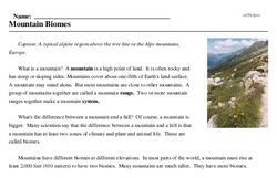Print <i>Mountain Biomes</i> reading comprehension.