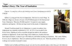 Print <i>Saliha's Story: The Year of Sanitation</i> reading comprehension.