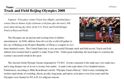 Print <i>Track and Field Beijing Olympics 2008</i> reading comprehension.