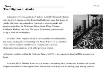 Print <i>The Filipinos in Alaska</i> reading comprehension.