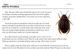 Print <i>Biff for President</i> reading comprehension.