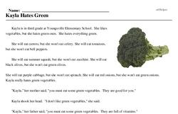 Print <i>Kayla Hates Green</i> reading comprehension.