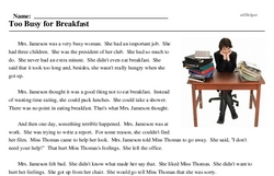 Print <i>Too Busy for Breakfast</i> reading comprehension.