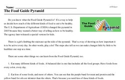 Print <i>The Food Guide Pyramid</i> reading comprehension.