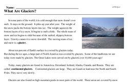 Print <i>What Are Glaciers?</i> reading comprehension.