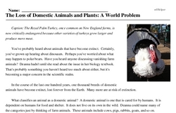 Print <i>The Loss of Domestic Animals and Plants: A World Problem</i> reading comprehension.