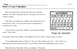 Print <i>Peter's Crazy Calendars</i> reading comprehension.