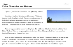 Print <i>Plains, Mountains, and Plateaus</i> reading comprehension.
