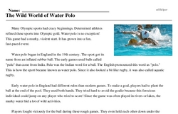Print <i>The Wild World of Water Polo</i> reading comprehension.