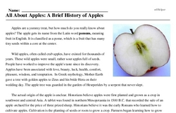 Print <i>All About Apples: A Brief History of Apples</i> reading comprehension.