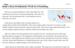 Print <i>Kade's Story in Indonesia: Work in a Sweatshop</i> reading comprehension.