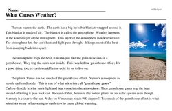 Print <i>What Causes Weather?</i> reading comprehension.