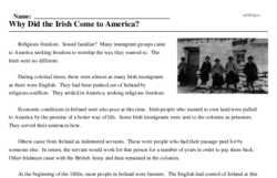 Print <i>Why Did the Irish Come to America?</i> reading comprehension.