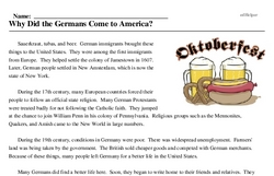 Print <i>Why Did the Germans Come to America?</i> reading comprehension.