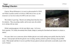 Print <i>Melting Glaciers</i> reading comprehension.