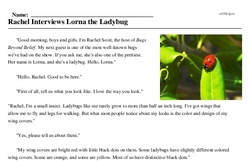 Print <i>Rachel Interviews Lorna the Ladybug</i> reading comprehension.