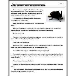 Print <i>Rachel Interviews Bruno the Rhinoceros Beetle</i> reading comprehension.
