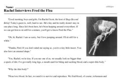 Print <i>Rachel Interviews Fred the Flea</i> reading comprehension.