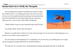 Print <i>Rachel Interviews Molly the Mosquito</i> reading comprehension.