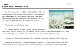 Print <i>Coral Reefs: Donald's Tale</i> reading comprehension.