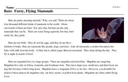 Print <i>Bats: Furry, Flying Mammals</i> reading comprehension.