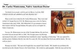 Print <i>Dr. Carlos Montezuma, Native American Doctor</i> reading comprehension.