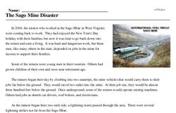 Print <i>The Sago Mine Disaster</i> reading comprehension.