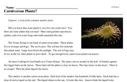 Print <i>Carnivorous Plants?</i> reading comprehension.