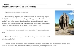 Print <i>Rachel Interviews Tad the Termite</i> reading comprehension.