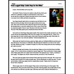 Print <i>Four-Legged Help: Guide Dogs for the Blind</i> reading comprehension.