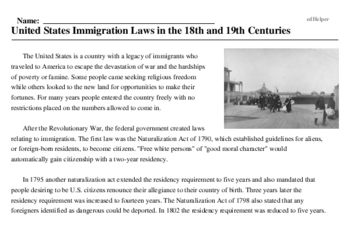 Print <i>United States Immigration Laws in the 18th and 19th Centuries</i> reading comprehension.