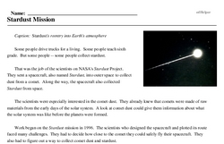 Print <i>Stardust Mission</i> reading comprehension.