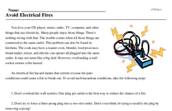 Print <i>Avoid Electrical Fires</i> reading comprehension.