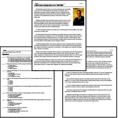 Print <i>United States Immigration Laws 1960-2001</i> reading comprehension.