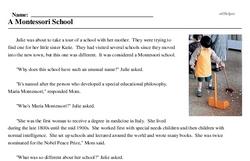 Print <i>A Montessori School</i> reading comprehension.