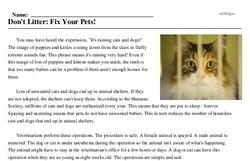 Print <i>Don't Litter: Fix Your Pets!</i> reading comprehension.