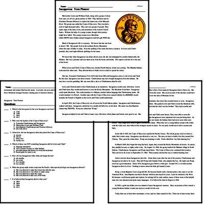 Print <i>Sacagawea: Teen Pioneer</i> reading comprehension.