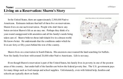Print <i>Living on a Reservation: Shawn's Story</i> reading comprehension.