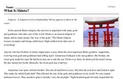 Print <i>What Is Shinto?</i> reading comprehension.