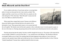 Print <i>Black Blizzards and the Dust Bowl</i> reading comprehension.