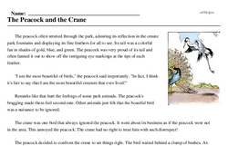 Print <i>The Peacock and the Crane</i> reading comprehension.