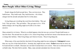 Print <i>How People Affect Other Living Things</i> reading comprehension.