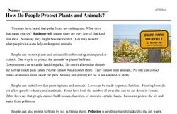 Print <i>How Do People Protect Plants and Animals?</i> reading comprehension.
