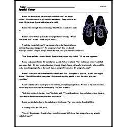 Print <i>Special Shoes</i> reading comprehension.