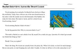 Print <i>Rachel Interviews Aaron the Desert Locust</i> reading comprehension.