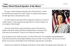 Print <i>Nancy Pelosi Elected Speaker of the House</i> reading comprehension.