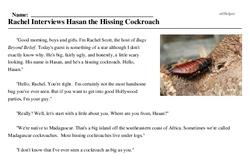 Print <i>Rachel Interviews Hasan the Hissing Cockroach</i> reading comprehension.